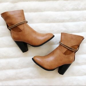 Shoes - NIB Vegan Leather Chestnut Ankle Boots